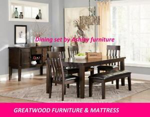 ** ASHLEY FURNITURE DINING SET WITH BENCH...$899**