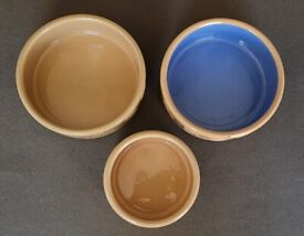 3 MASON CASH DOG BOWLS CERAMIC