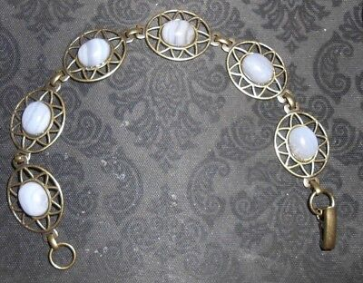 Bracelet,7.5 Brass Plated (pewter), 6 Oval 10x8 Blue Lace Agate Stone fold clasp
