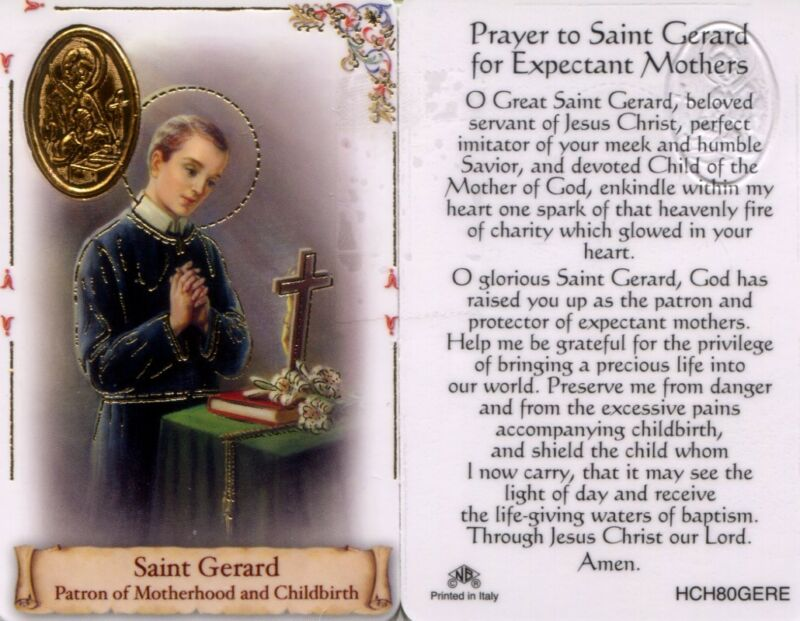 Prayer to Saint Gerard Wallet Card for Expectant Mothers Patron and Protector