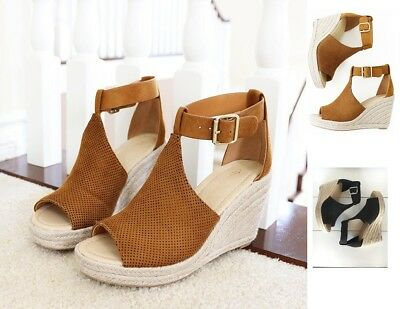 Perforated Ankle Strap Buckle Wedge Espadrille Sandal #Cashier-s Buckle Strap Sandal