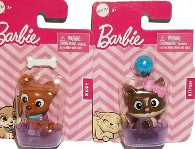 Barbie Pets Lot of 2! Puppy & Kitty Cat Dog House Pets Animals Cute Baskets