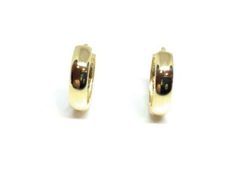 14K Solid Gold Round High Polish Huggie Hoop Earrings