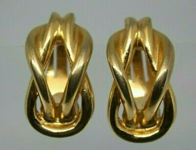 Beautiful Vintage Nautical Sailor Square Knot PAOLO GUCCI gold clip on earrings