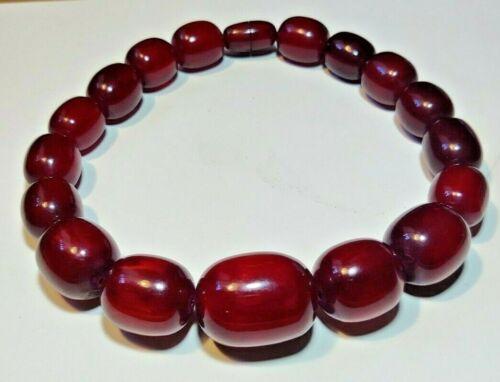 Huge Cherry Amber Faturan Barrel Bead Necklace