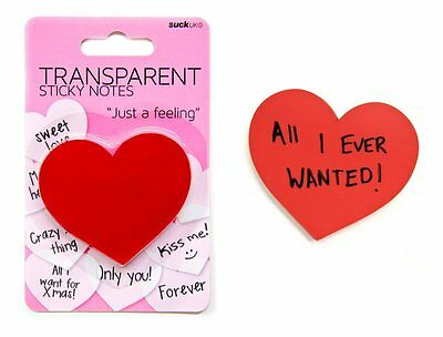 Suck UK Transparent Red Heart Shaped Sticky Note Pad,100 sheets Just a Feeling Heart Shaped Notes Pad