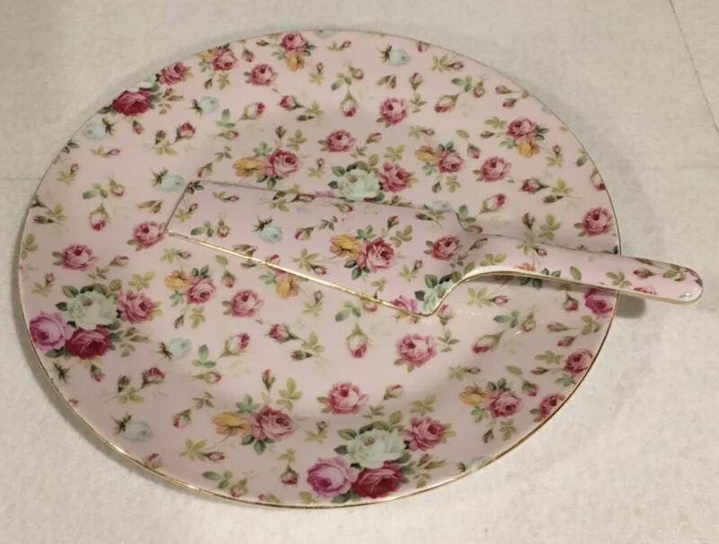 Royal Danube Pink Rose Chintz Cake Plate and Server