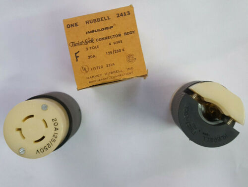 Free Ship  Hubbell 2413 3pole 4 Wire Twist-lock Connector Body 20amp @ 250v  Nos