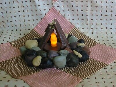 Halloween Witches Campfire Rock Fireplace LED Light Tealight