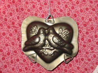 Vintage Style Lovebirds Heart Metal Chocolate Mold Ornament Valentine Christmas