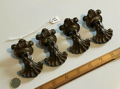 Set 4 Old Antique Drawer Handles Drop Handles Pull Handles Rococo Design Brass.