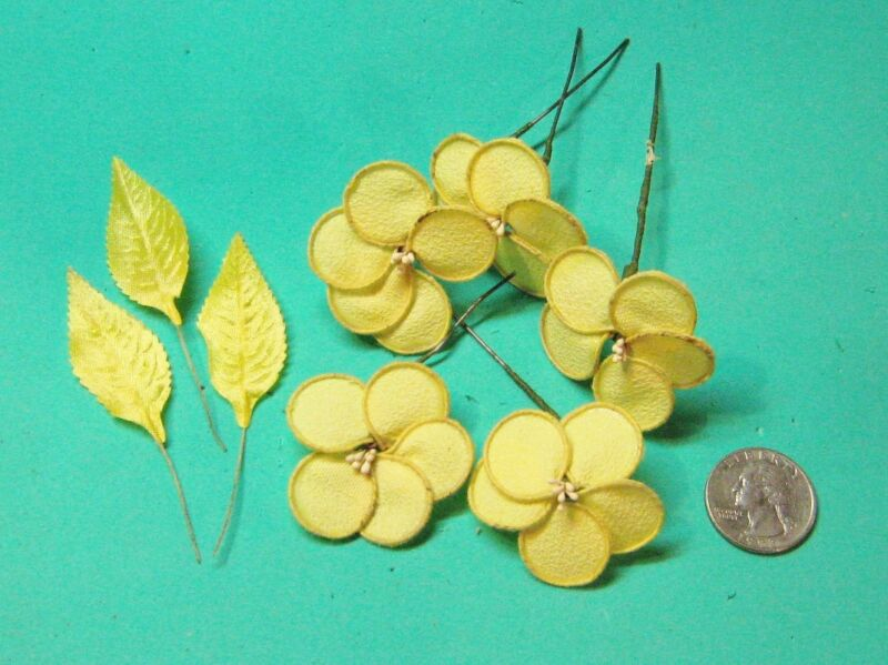 Vintage Handmade Flowers- Yellow- for Doll Hats or crafts-1970