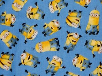 DESPICABLE ME  MINIONS  QUILTING TREASURE BLUE TOSSED COTTON FABRIC  BY THE - Despicable Me Fabric