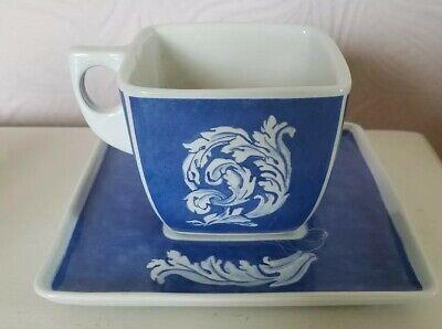 Vista Alegre large Blue White square Soup Cup + Saucer