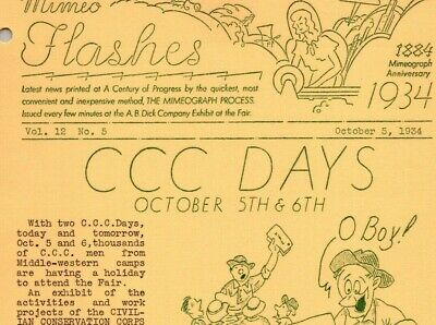 1934 Century of Progress MIMEO FLASHES, Oct. 5, C.C.C Civilian Conservation Corp