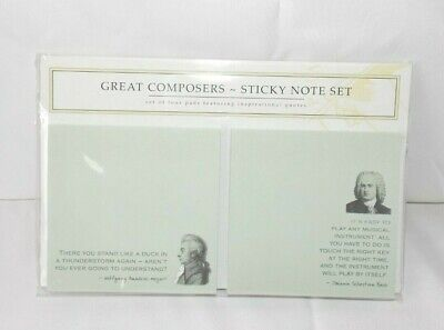 Great Composer Sticky Note Set 4 Pads Inspirational Quotes Mozart Bach Beethoven