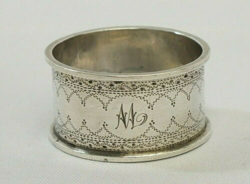 Antique 1902 Sterling Silver W. G. Keight Monogramed M Etched Napkin Ring