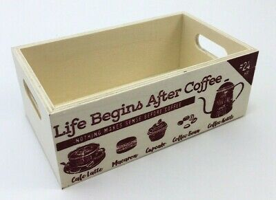 Vintage Coffee Storage Box Wood Crate Pod Storage Container Organizer Small Mini ()