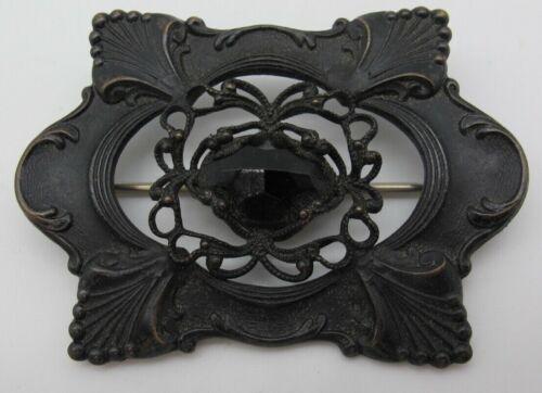 Antique Victorian Black Jet Metal Bronze Brooch Pin Mourning Goth Shawl