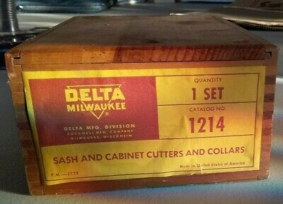 Delta Rockwell Sash Cabinet Shaper Cutter Set 1214 Factory Box Wood-working
