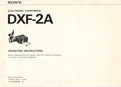SONY - DXF-2A - Operating Instructions for view finder - B8039