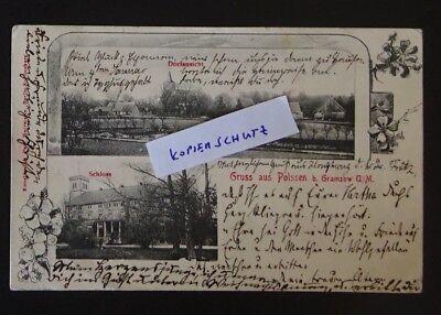 a2087 Gruss a. POLSSEN b. Gramzow Uckermark - Dorf und Schloss 1905
