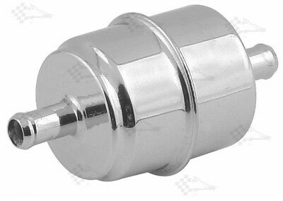 Chrome Canister Inline Fuel Filter - 3/8