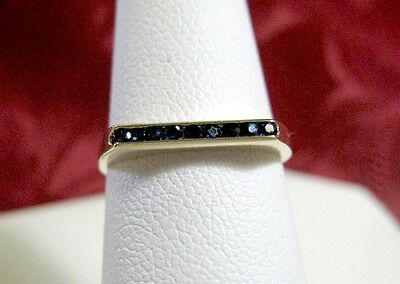 14K YELLOW GOLD UNIQUE THIN CLEAN LINES RING WITH PAVE SAPPHIRES SET RING SIZE 6