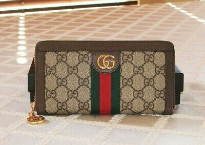 NWT Authentic Gucci Ophidia Zip-around Wallet in GG Supreme + Green & Red Web