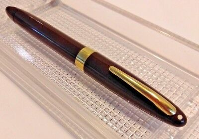 Sheaffer Sovereign 14k Nib Gold Band Brown Vintage Calligraphy Pen V-Good Cond.