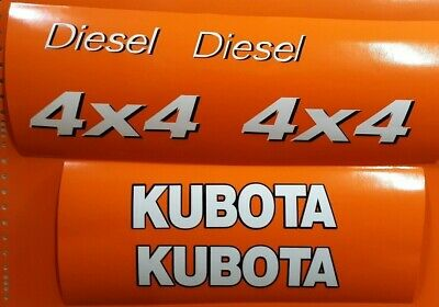 Kubota Utility Vehicles Side By Side Replacement 6 Decals Set White Black