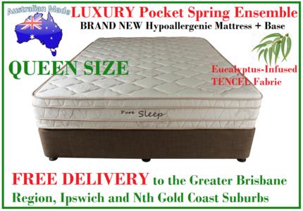 QUEEN LUXURY Pocket Spring Pillow Top Ensemble DELIVERED FREE