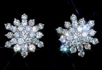$3450 / NEW / EFFY Snow Flake 1 CT Diamond Earrings / 14K -