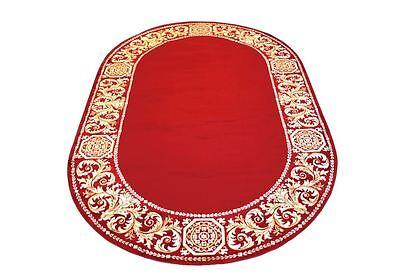 Teppich Oval Kunst Seide Rot Mäander Medusa 152 cm x 230cm versac ()