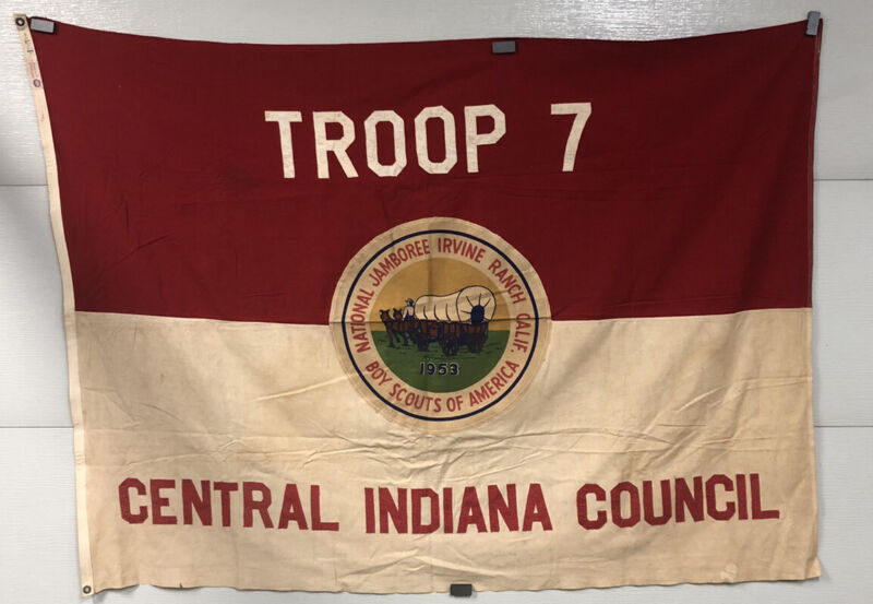 1953 3rd National Jamboree Boy Scout Flag Irvine Ranch Ca Troop 7 Indiana CIC