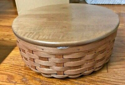 """New Longaberger 2007 9"""" Round Keeping Basket-RB w/new covered plastic protector!"""