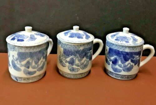 Vintage White & Blue Porcelain Butterflies Tea Cup-Mug with Lid China -Lot of 3