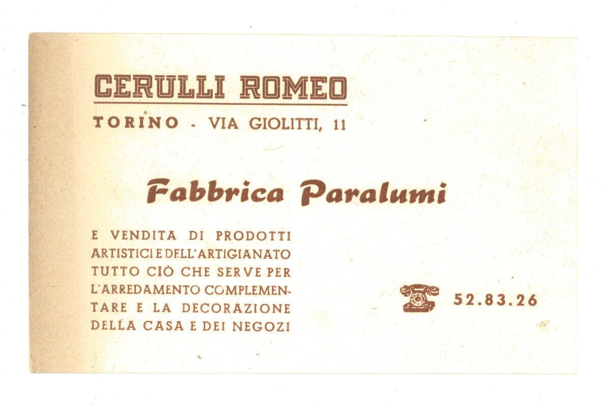 BIGLIETTO DA VISITA CERULLI ROMEO TORINO FABBRICA PARALUMI ARREDAMENTO ANNI '60