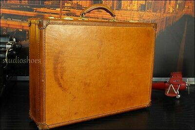 HARTMANN President Rustic Belting Tan Leather Briefcase Hard Case Bag Mens VTG