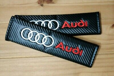 "2x Seat Belt Covers Pads Black Leather /""TT/"" Grey Embroidery for Audi"