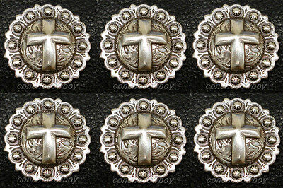 Set of 6 WESTERN ANTIQUE CROSS BERRY SADDLE CONCHOS 1 inch screw back