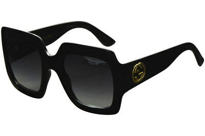 Gucci Women's Urban Collection GG0053S 0053/S 001 Black/Gold Square Sunglasses