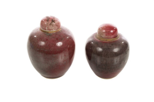 Chinese 19th century pair of beautiful Red Flambe porcelain Apple Urns