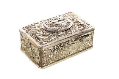 Singing Bird Beautiful Antique Silver Filigree Music Box c.1900s