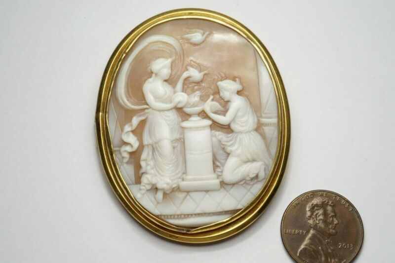 LOVELY ANTIQUE VICTORIAN GOLD CARVED SHELL MUSES & DOVES CAMEO BROOCH c1880