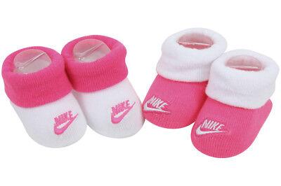 Nike Infant Girl's 2-Pair Futura Contrast Cuff Hyper Pink Booties Set Sz: 0-6 M