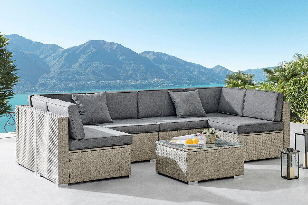 Garden Furniture - Rattan Garden Furniture Corner Sofa Set Grey Outdoor Conservatory Patio Dining