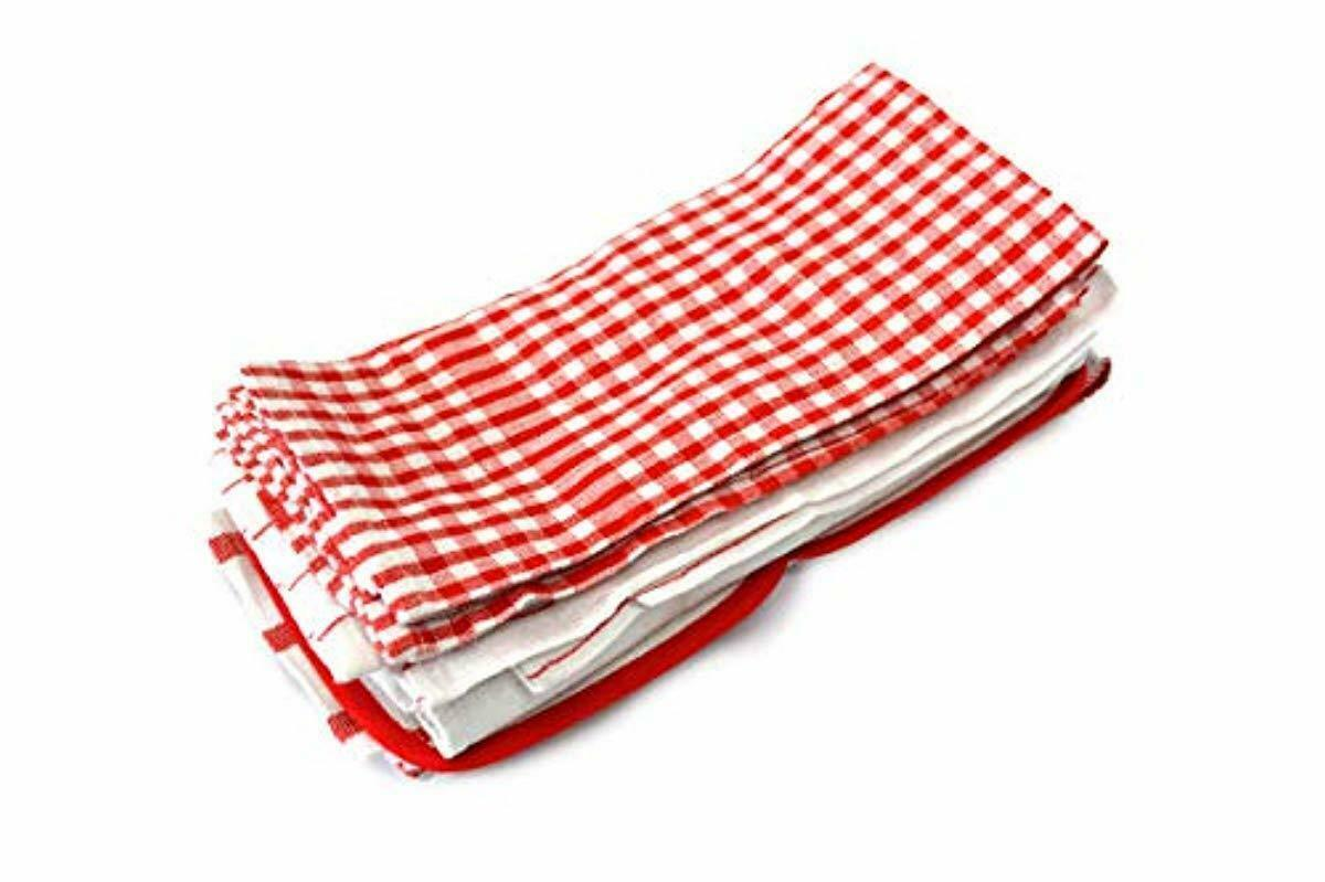 Kitchen Towels Dish Towel 100% Cotton Lot Set (20 Pack) Red White