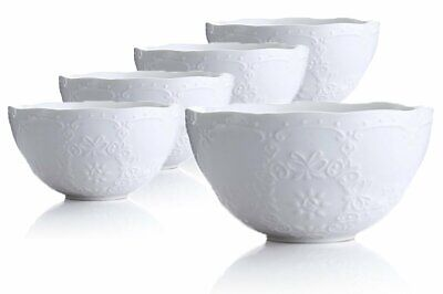 - Jusalpha Fine China Embossed Bowl Set for Rice-Soup-Salad, Set of 5 (White)