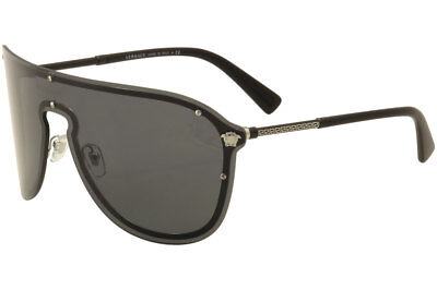 08db10cbc4 Versace Women s VE2180 VE 2180 1000 87 Silver Black Shield Pilot Sunglasses  58mm